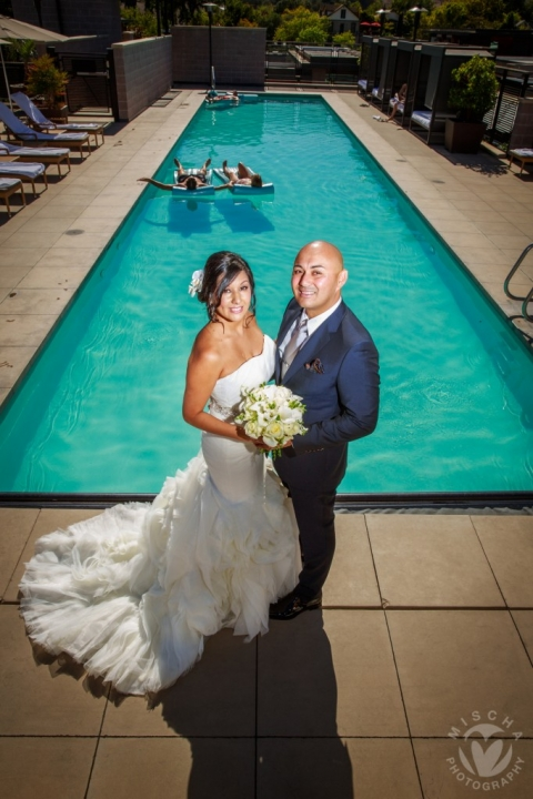 Bardessono pool bride & groom