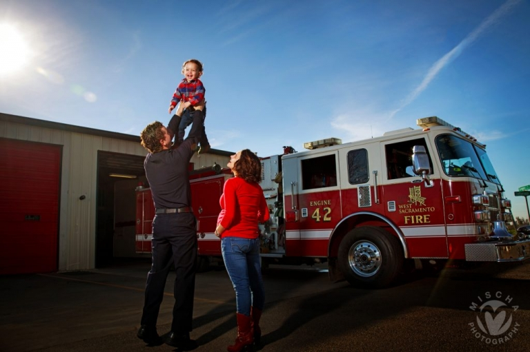 fire station themed family shoot