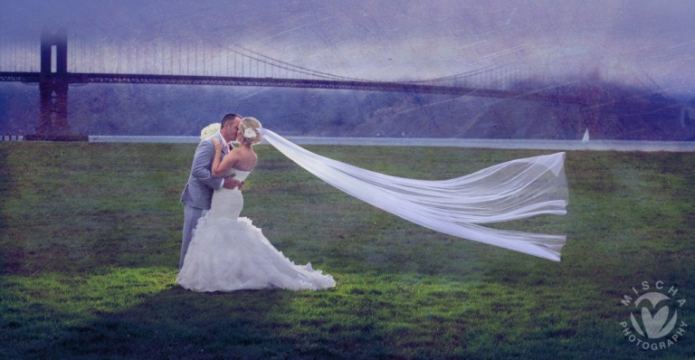 Crissy Fields veil blowing SF Wedding photography
